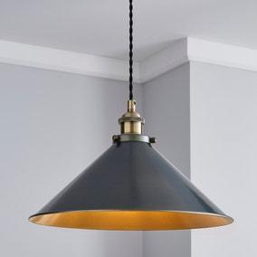 Logan 1 Light Grey Industrial Ceiling Fitting