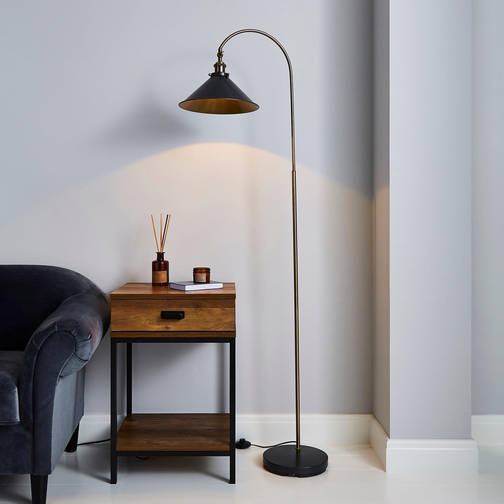 Logan Grey Industrial Floor Lamp Dark industrial Nickel, Antique Brass
