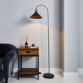 Logan Black Industrial Floor Lamp