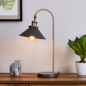 Logan Antique Brass Grey Industrial Table Lamp