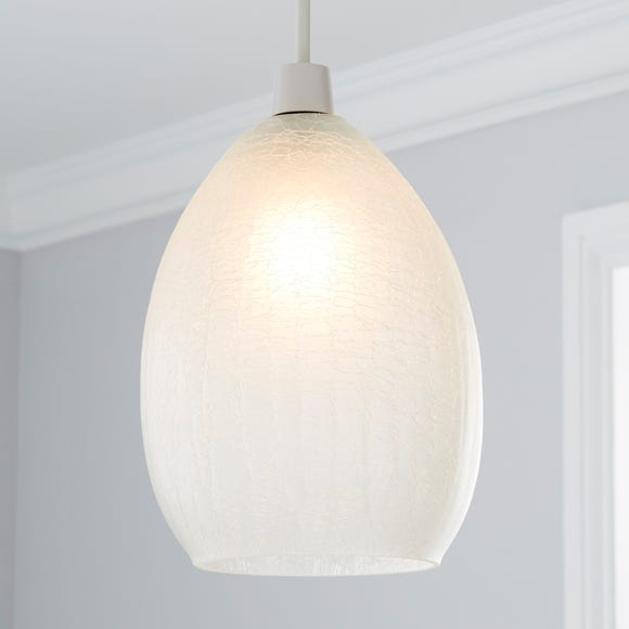 Akola Crackle Glass Easy Fit Pendant White