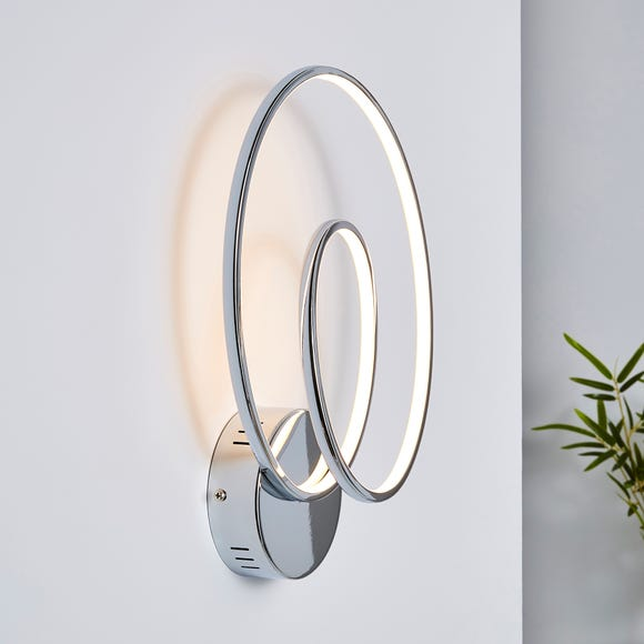 Menton Integrated LED Swirl Chrome Wall Light Chrome