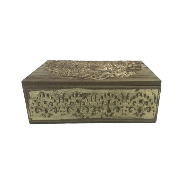 Carved Wooden Storage Box Brown