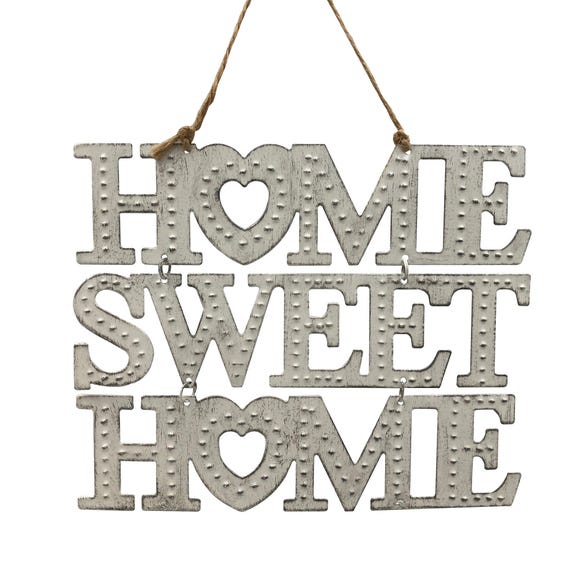 Home Sweet Home Metal Hanging Sign Cream