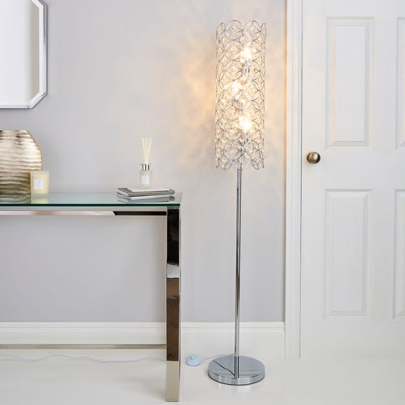 Arden Jewel Chrome Floor Lamp Silver