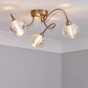 Temossi 3 Light Mercury Glass Semi-Flush Ceiling Fitting