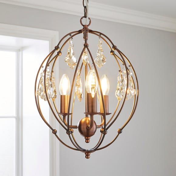 Salino Globe 3 Light Antique Copper Chandelier Copper
