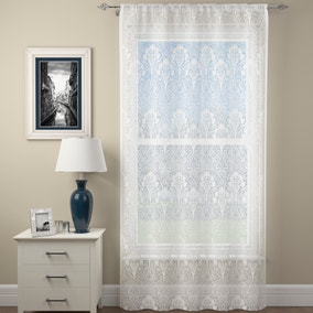 Lucetta Lace White Slot Top Voile Panel
