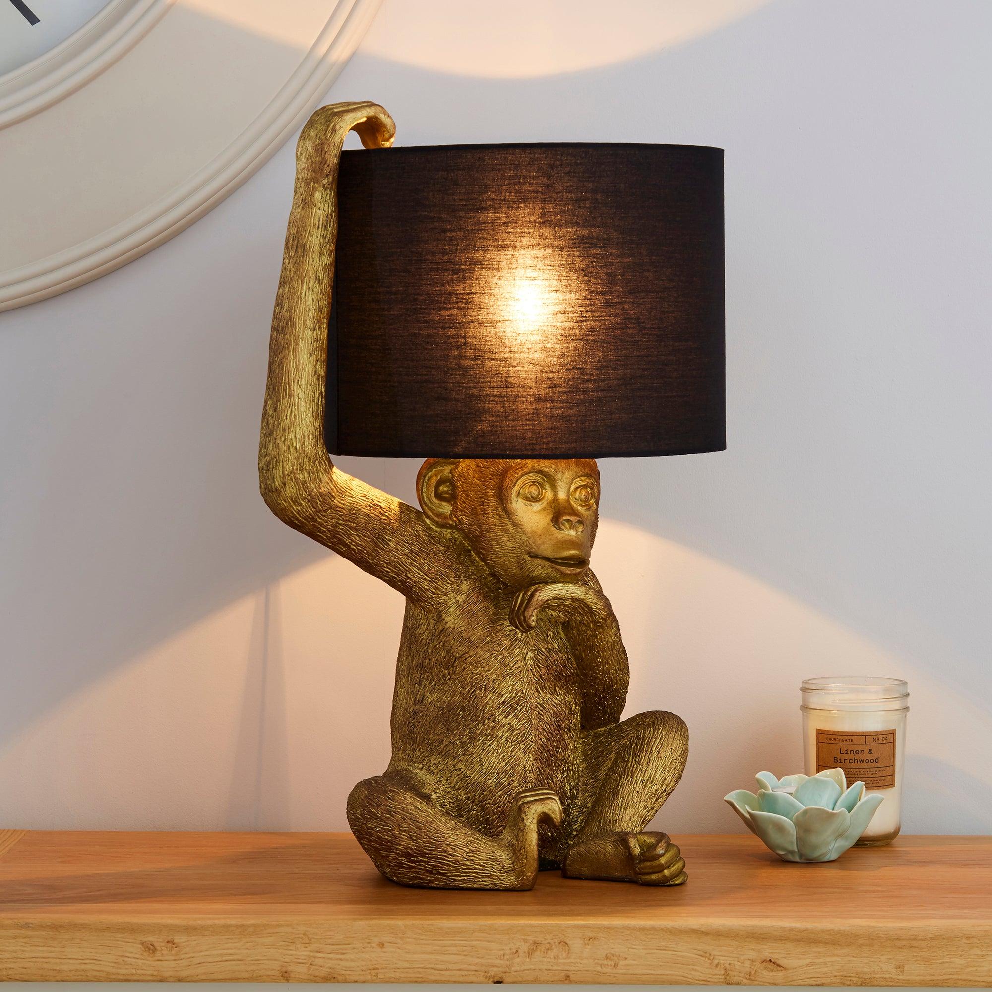 Odisha Resin Monkey Gold Table Lamp Gold