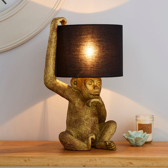 Odisha Resin Monkey Gold Table Lamp Gold