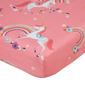 Unicorn Pink Double Fitted Sheet