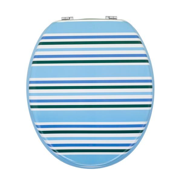 Nautical Stripe Toilet Seat Blue