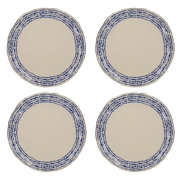 Set of 4 Mikasa Azores Speckle Dinner Plates Blue