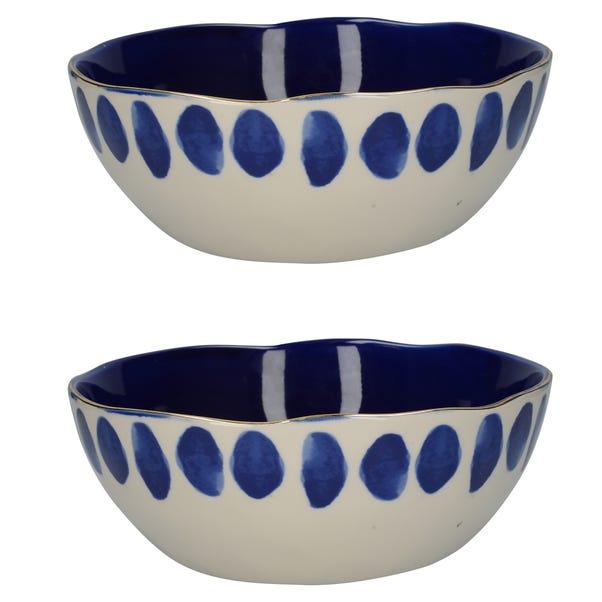 Set of 2 Mikasa Azores Spot Serving Bowls Blue
