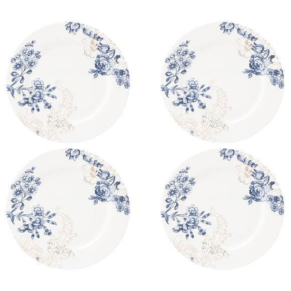 Set of 4 Palmers Silk Dinner Plates Blue