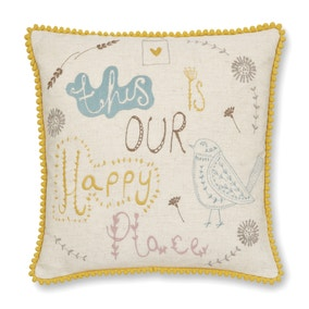 Scandi Happy Place Embroidered Ochre Cushion