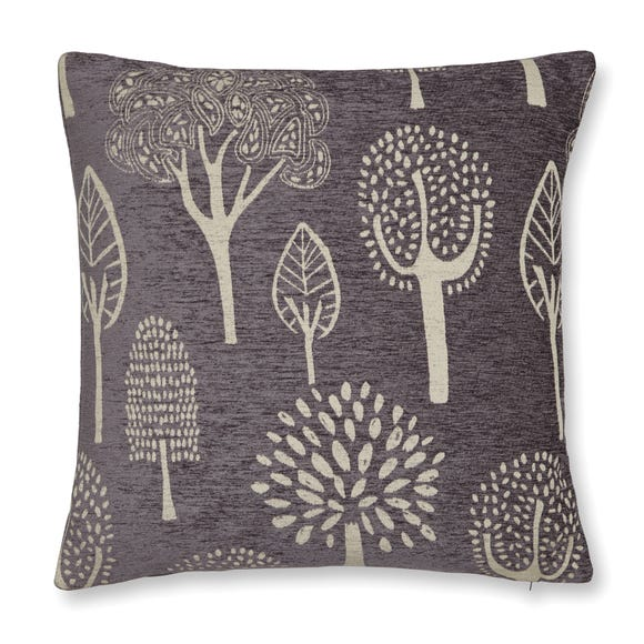 Chenille Trees Square Cushion Grey