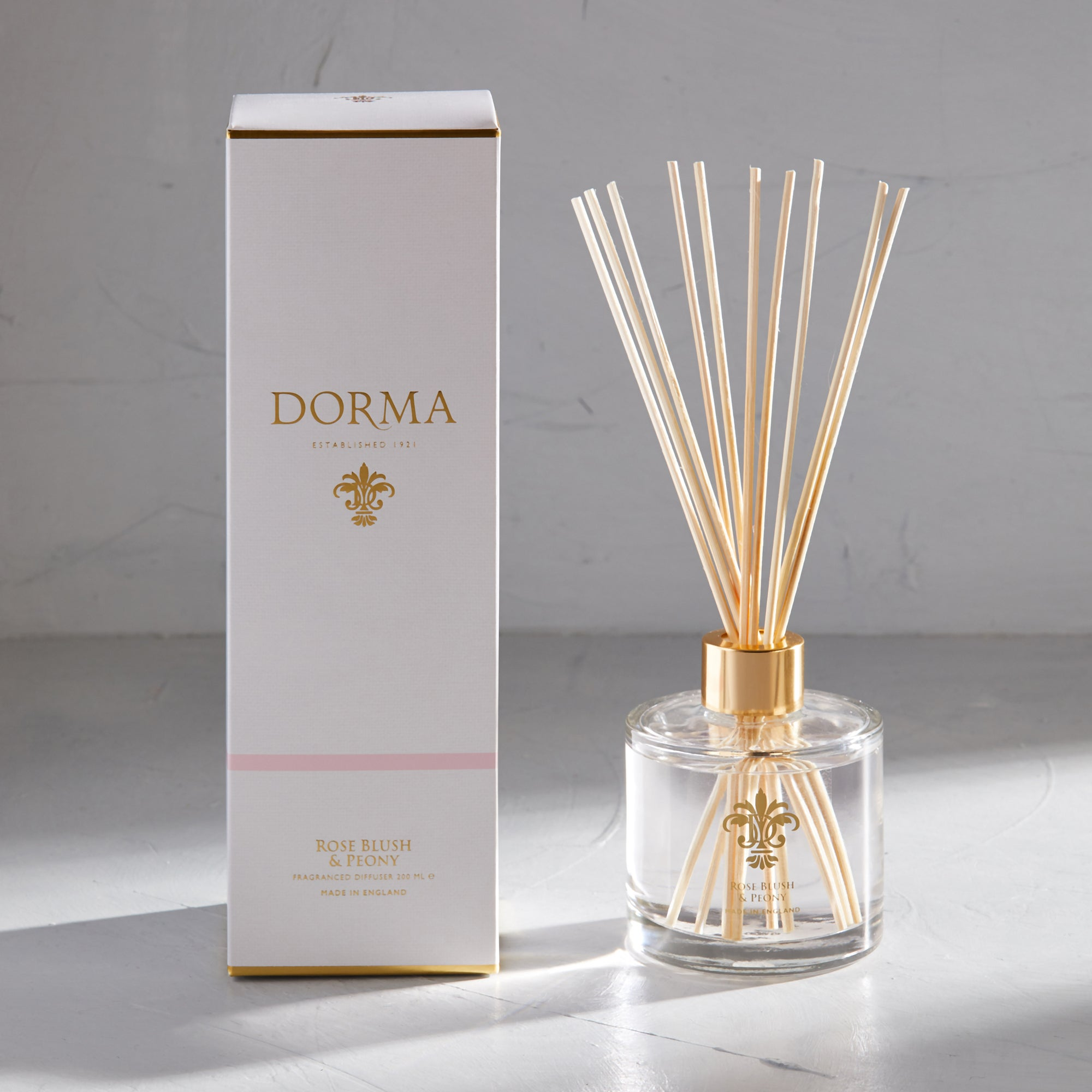 Dorma Rose Blush And Peony 200ml Reed Diffuser White
