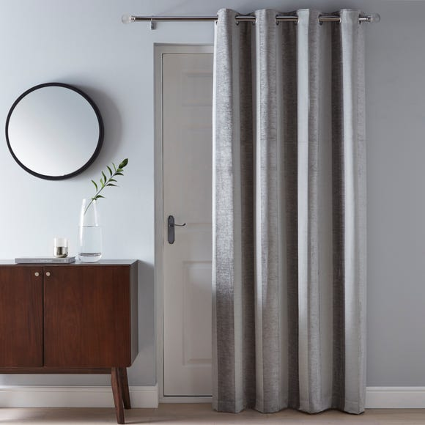 Parker Grey Chenille Eyelet Door Curtain  undefined