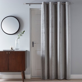 Parker Grey Chenille Eyelet Door Curtain