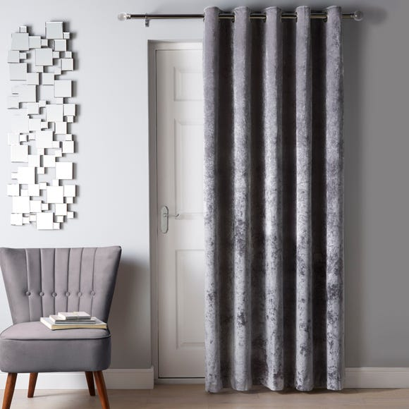 Crushed Velour Silver Eyelet Door Curtain Silver undefined