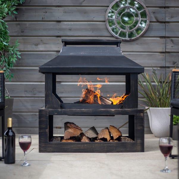 Stonehurst Steel Outdoor Log Burner Black