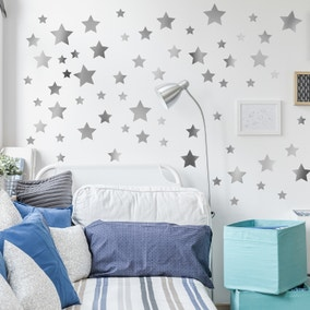 Silver Metallic Stars Wall Stickers