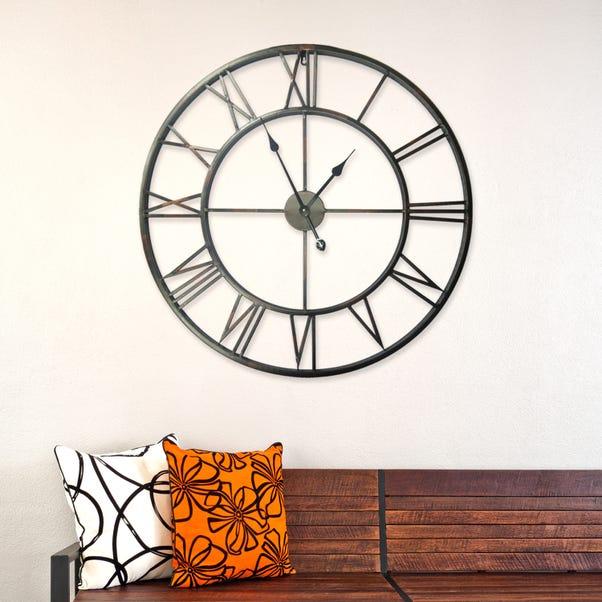 Walplus Quintus 100cm Wall Clock In Iron Black