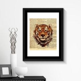 Tiger Newspaper Wall Art