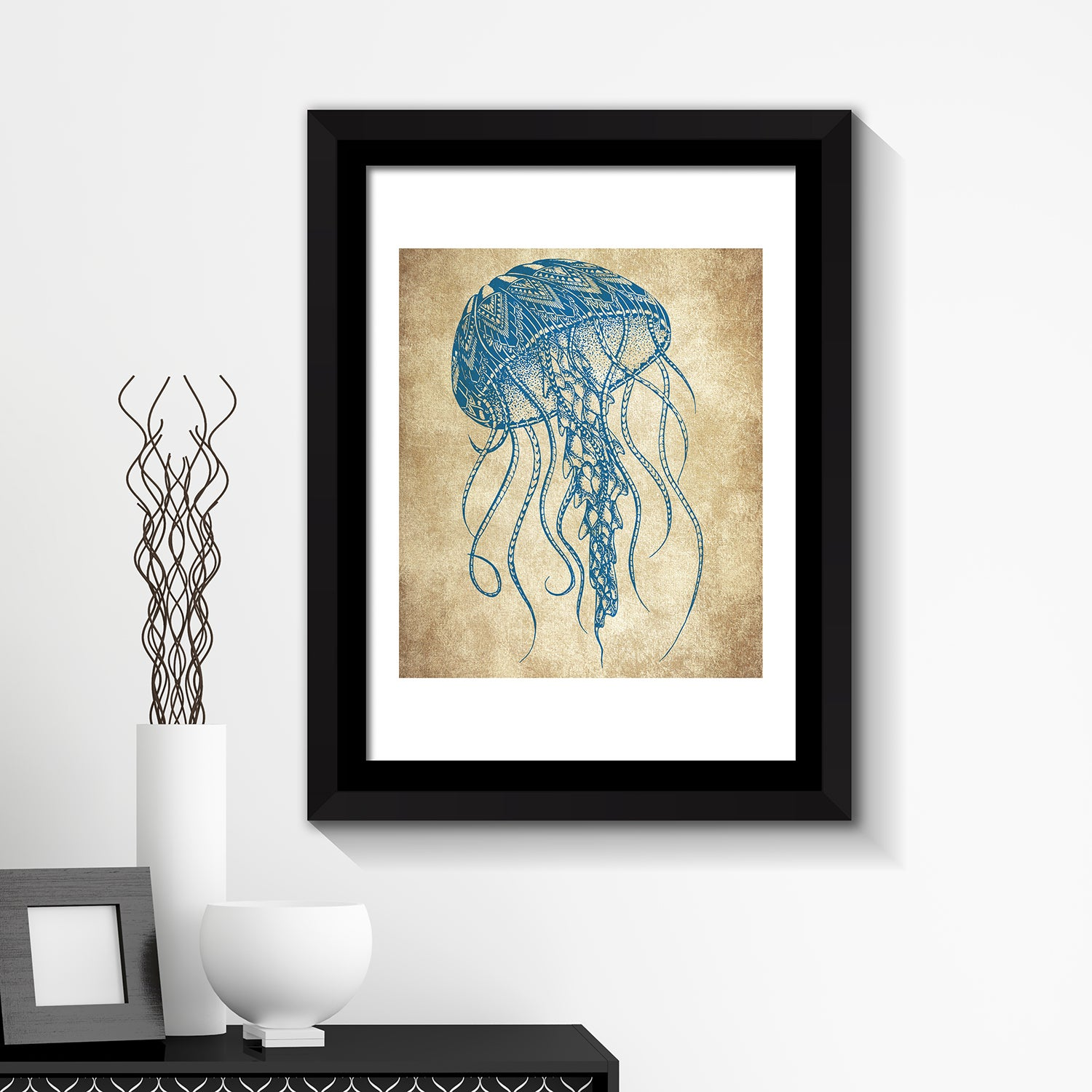 Click to view product details and reviews for Jellyfish Framed Wall Art Blue.