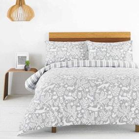 Scandinavian Woodland Grey Duvet Cover and Pillowcase Set