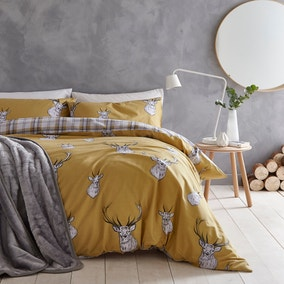 Catherine Lansfield Stag Ochre Duvet Cover and Pillowcase Set