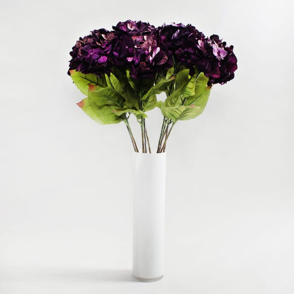 12pk Artificial Hydrangea Purple Stem 75cm Midnight (Purple)
