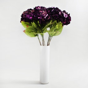 12pk Artificial Hydrangea Purple Stem 75cm