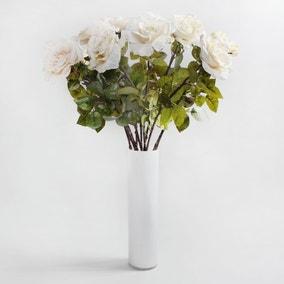 12pk Artificial Rose Cream Stem 80cm