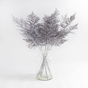 12pk Artificial Fern Silver Glitter Spray 80cm