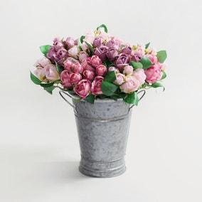 24pk Artificial Rose Pink Spray 32cm