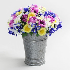 6pk Artificial Daisy and Iris Multi Bouquet 30cm