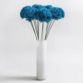 Pack of 12 Artificial Pom Pom Teal Stem 70cm