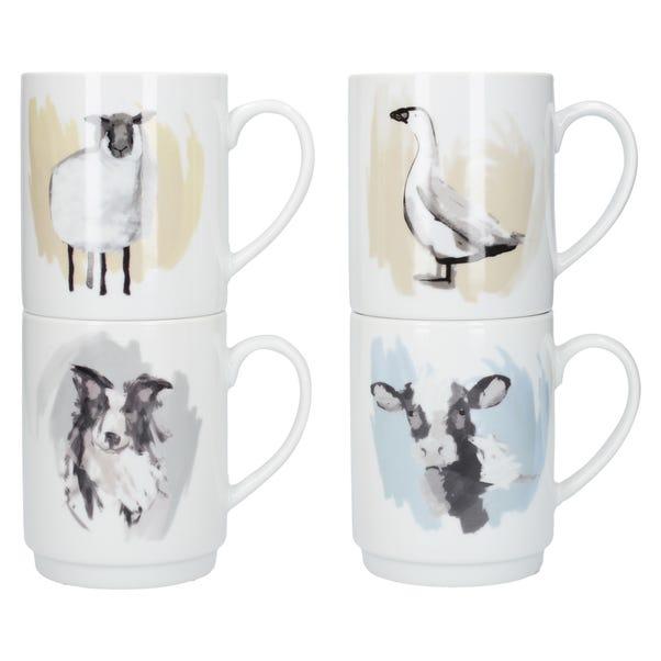Set of Four Farmyard Stacking Mugs Multi coloured