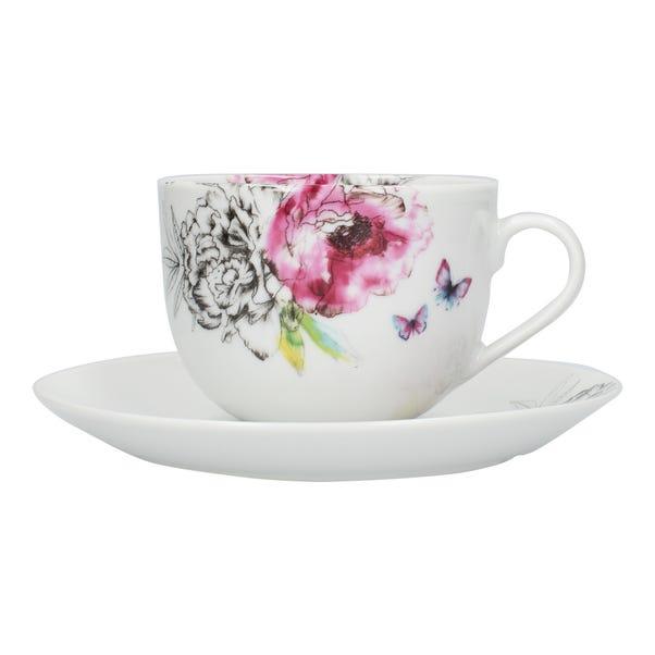 Heavenly Hummingbird Tea Cup and Saucer MultiColoured