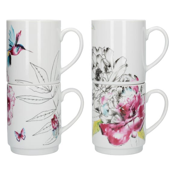 Heavenly Hummingbird Stacking Mugs Multi coloured