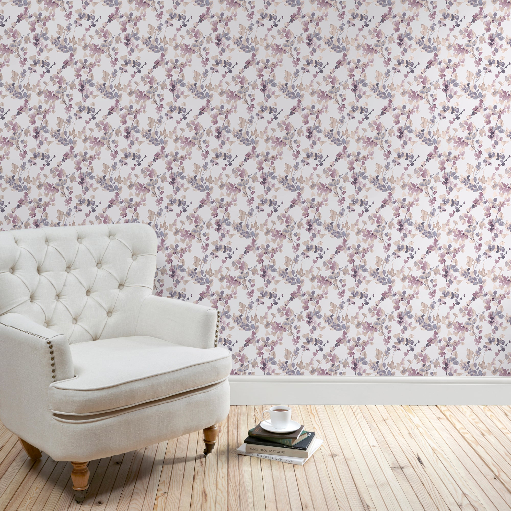 Honesty Mauve Floral Wallpaper Pink
