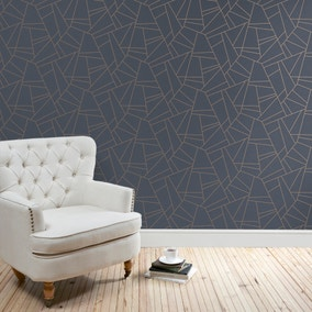 Deco Geometric Navy Wallpaper