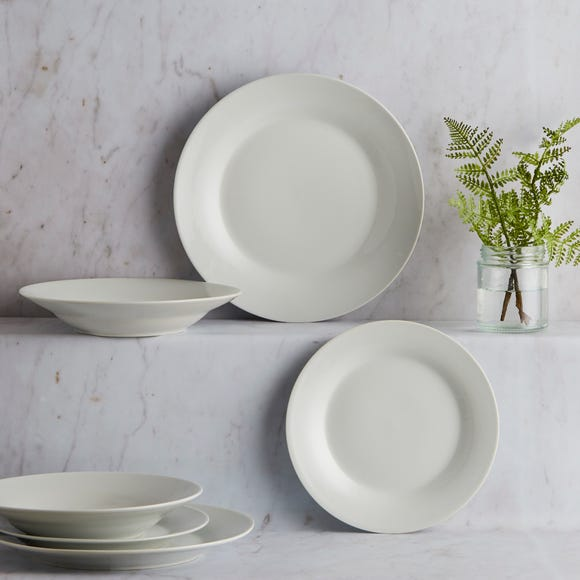White Rim 12 Piece Dinner Set White