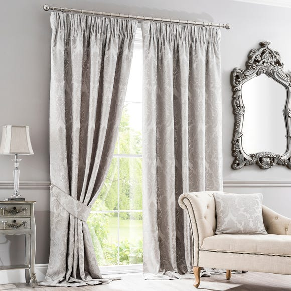Versailles Silver Pencil Pleat Curtains  undefined