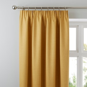 Solar Mustard Blackout Pencil Pleat Curtains
