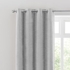 Textured Chenille Silver Eyelet Curtains
