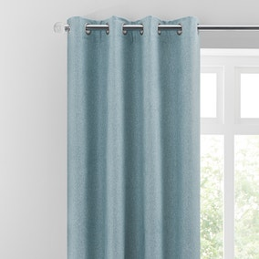 Luna Brushed Soft Blue Blackout Eyelet Curtains