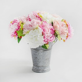 6pk Artificial Peony Pink and Cream Bouquet 40cm